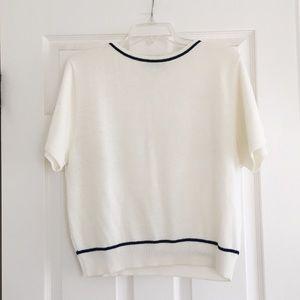 Vtg. 90s short sleeve off white sweater